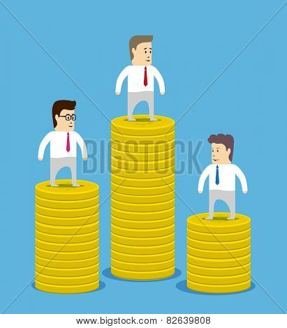 Rating revenue or profitability. Columns of coins and businessmen characters on the top.