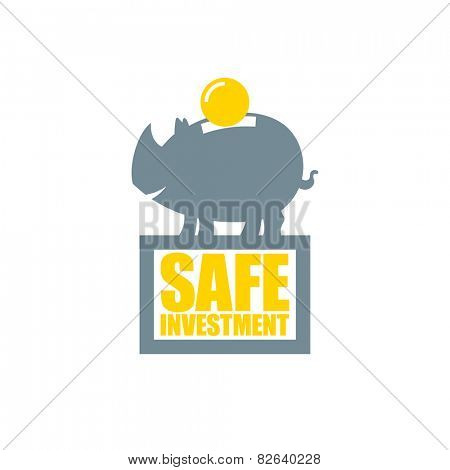 Safe investment symbol, saving money in a piggy bank.