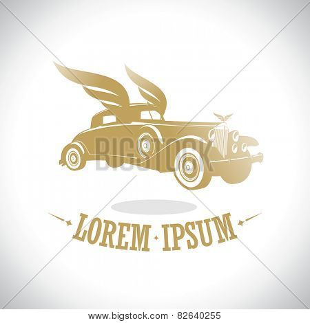 Gold retro car with wings logo template.