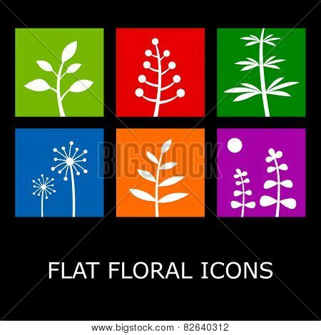 Flat floral icons isolated on black. Vector plant symbols in metro style