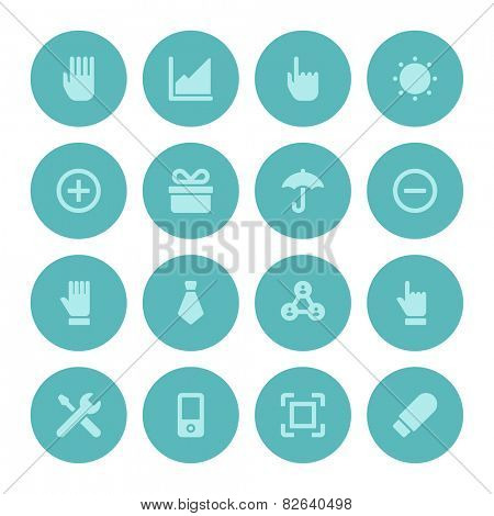 Flat icons vector set for web site design, infographics, ui and mobile apps. Objects, business, office, communication and marketing items