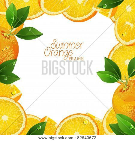 Frame of oranges and slices