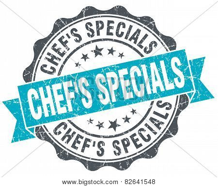 Chef's Specials Vintage Turquoise Seal Isolated On White