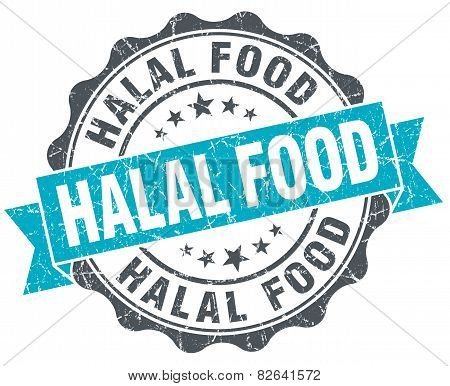 Halal Food Vintage Turquoise Seal Isolated On White