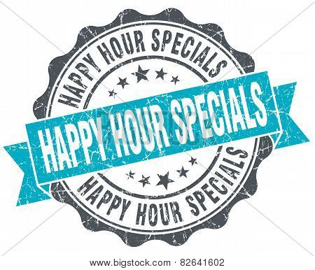 Happy Hour Specials Vintage Turquoise Seal Isolated On White