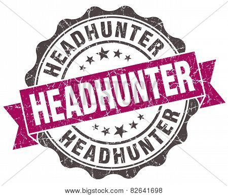 Headhunter Grunge Violet Seal Isolated On White