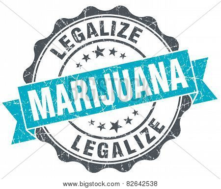 Legalize Marijuana Vintage Turquoise Seal Isolated On White