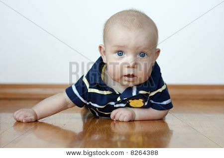 Cute Baby Boy Laying On His Tummy