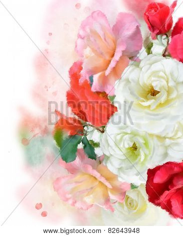 Digital Painting Of Colorful Roses
