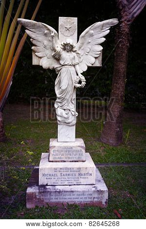 Singapore - 31 Dec 2013: An Old, Sculpted Grave Marker At The Cemetery Near The Armenian Church Of S