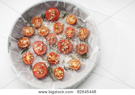 Baking Tray Of Tomatoes