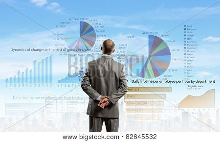 Rear view of businessman looking at business strategy sketch