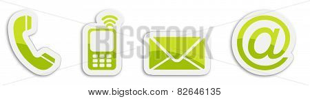 Four Contacting Sticker Symbols In Green