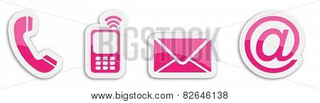 Four Contacting Sticker Symbols In Magenta