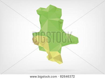 Low Poly map of german region Sachsen-Alhalt