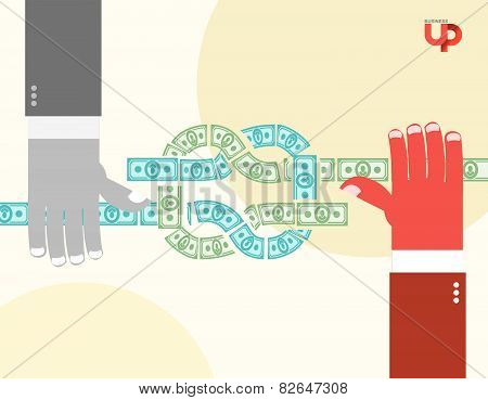 Hands Pulled Money. Node. Cash Flow. Business Illustration