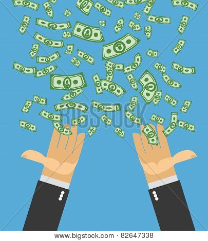 Hand Catch Money. Money Rain. Falling Money. Cash Flow. Business Illustration