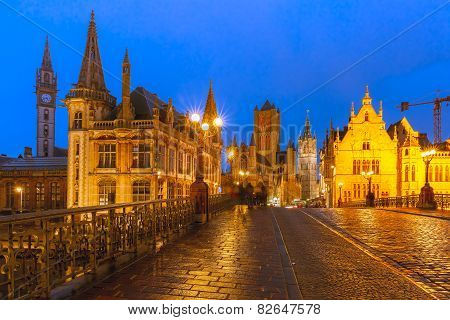 St. Michael Bridge at sunset in Ghent, Belgium