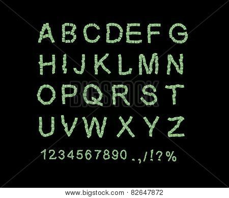 Money font. Letter from dollar. Alphabet of money. The font of dollars. Vector illustration