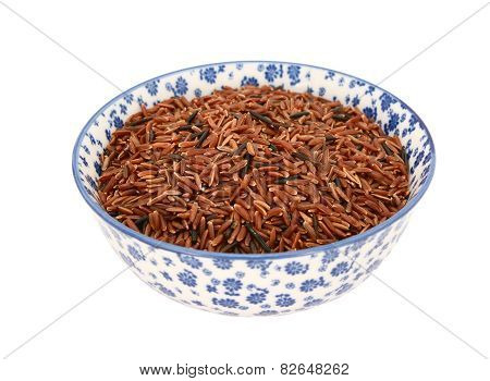 Camargue Red Rice In A Blue And White China Bowl