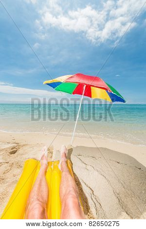 Relaxing At He Beach Vertical