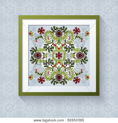 3D Picture Frame With Floral Symmetrical Element