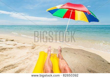 Relaxing At He Beach