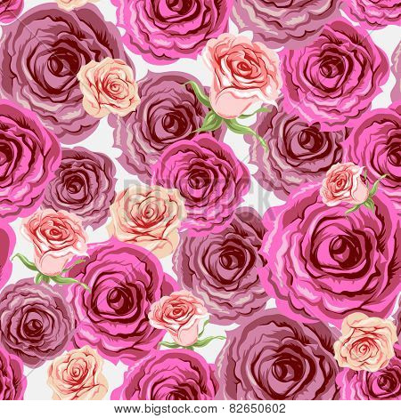 Roses seamless pattern. Beautiful background