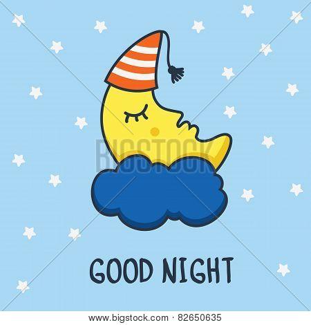 Funny Sketching Sleeping Moon And Stars. Vector Cartoon Illustration Background