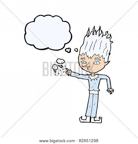 jack frost cartoon with thought bubble