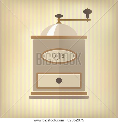 Retro style coffee grinder, with drawer and label, over faded pink and yellow candy stripe background. EPS10 vector format
