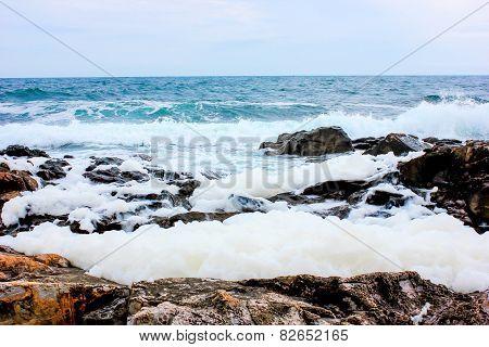 Breaking Waves In The Rocks On The Beach In Sozopol, Bulgaria