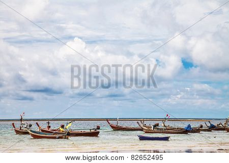Boats in the tropical sea near tropical beach. Thailand