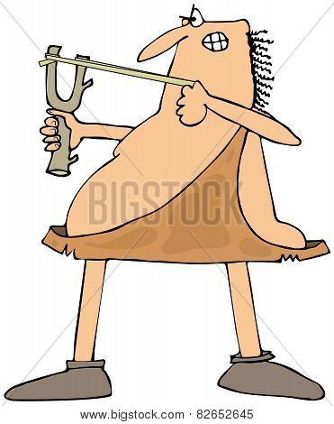 Caveman aiming a slingshot