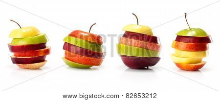 composite from different varieties of apples cut into slices