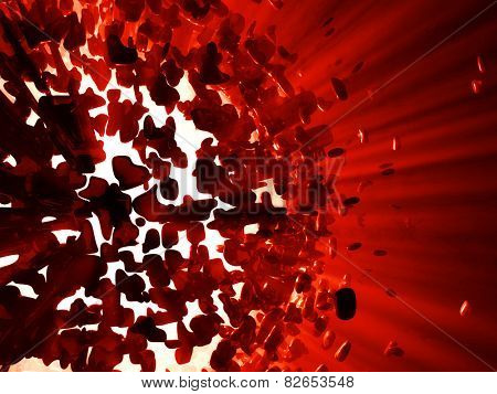 Red 3d explosion background