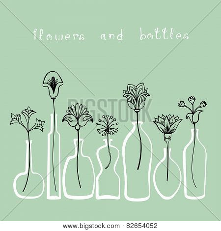 Abstract Flowers And Different Bottles