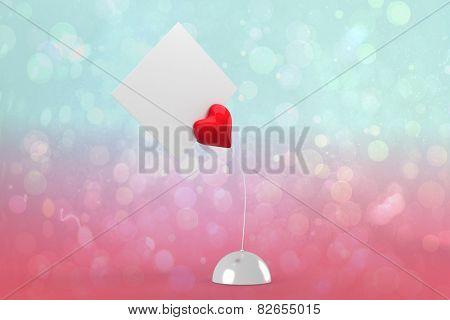 Heart paper holder against blue and pink light spot design