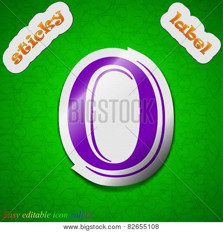Zero Icon Sign. Symbol Chic Colored Sticky Label On Green Background. Vector