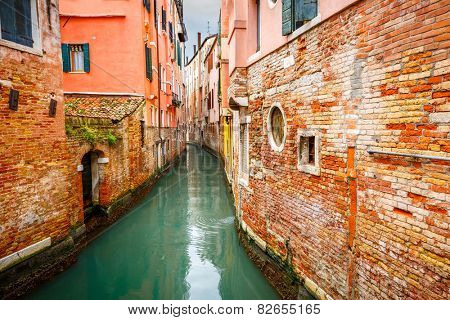 Narrow Canal in Venice, Italy