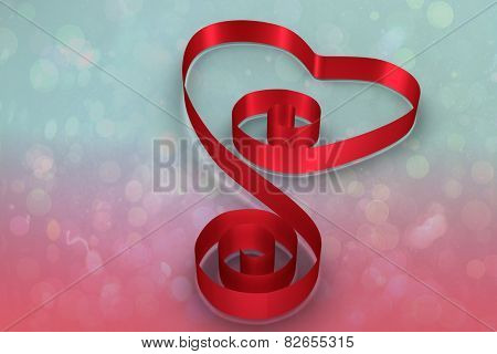 Red ribbon heart against blue and pink light spot design