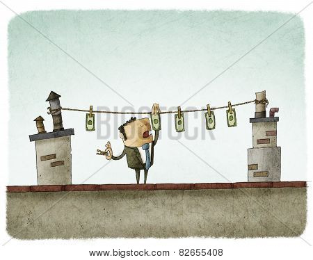 money drying on the rooftop