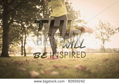 Active woman jogging against this year i will be inspired