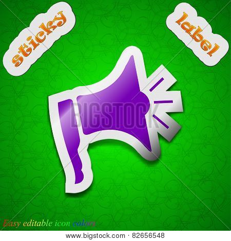 Megaphone Icon Sign. Symbol Chic Colored Sticky Label On Green Background. Vector