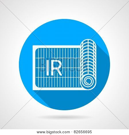 Blue flat vector icon for IR heated floor