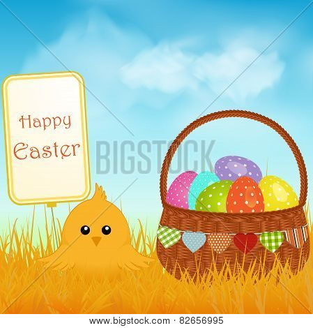 Easter Chick And Sign With Basket And Eggs Background