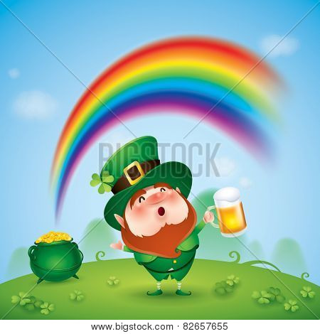 Leprechaun with pot of gold at the end of rainbow