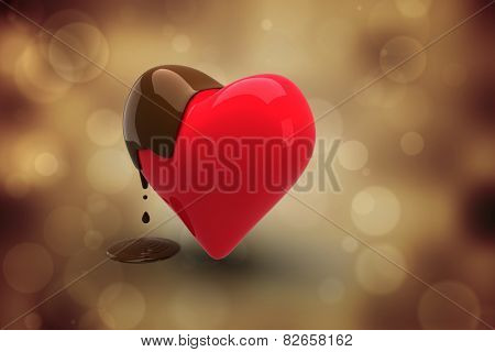 Heart dipped in chocolate against orange abstract light spot design