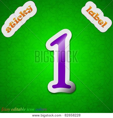 Number One  Icon Sign. Symbol Chic Colored Sticky Label On Green Background. Vector