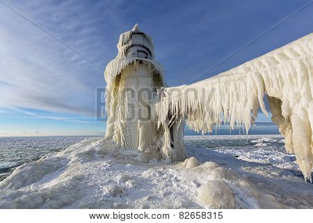Ice Curtains On St. Joseph Lighthouse In Winter